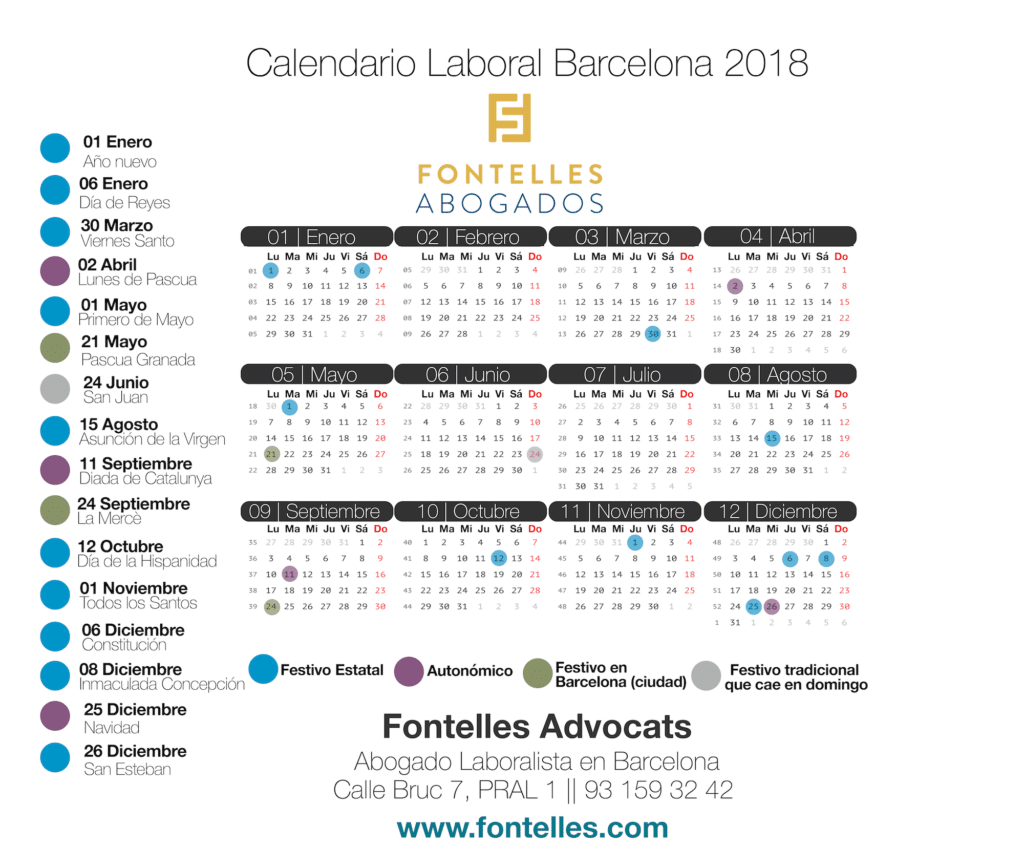 Calendario laboral 2018 Barcelona